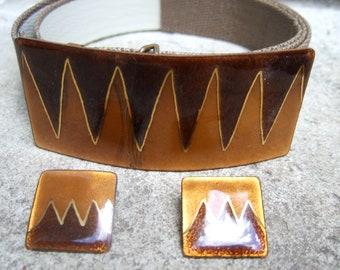 Enamel Cloisonne Embossed Belt & Earring Set Made in Mexico