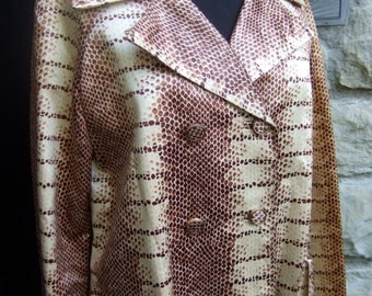 1970s Sleek Exotic Satin Python Print Coat