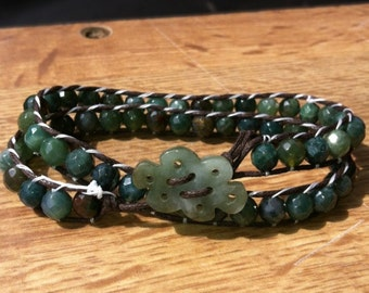 Blue/Green Faceted Jasper Wrap Bracelet