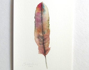 Feather Art - Archival Print - Watercolor Feather Painting - Fall Colors - Nature Wall Art