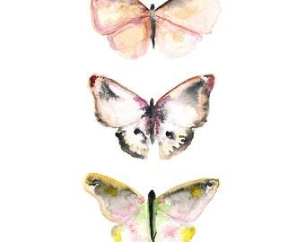 Butterfly Print - Nature Art - Watercolor Butterflies - Archival Print - Pink - Home Decor