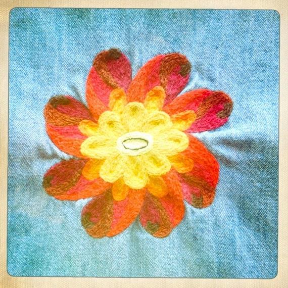 Vintage 60s Wrangler Western Denim Shirt with Vintage 70s Embroidered Flower on Back -Size M-L