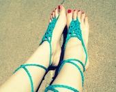 Blue Crochet Barefoot Sandal