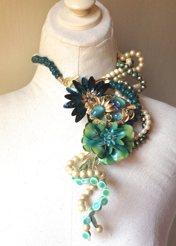 Autumn Wedding Flower Rhinestone Brooch Necklace with Pearls in Gold, Turquoise, & Teal Statement Jewelry by ZILLAS QUEEN