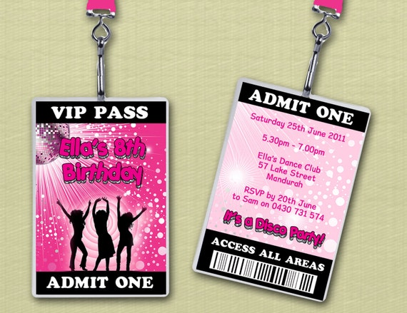 Personalised Disco Vip Lanyard Invitations X 10 By Deezee
