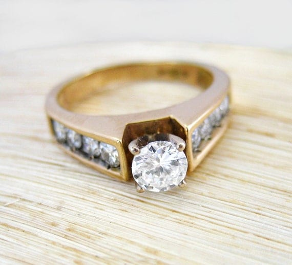 RESERVED Payment 3 1.00 Carat Estate Diamond Engagement Solitaire Ring 14kt Yellow Gold Anniversary Band SALE
