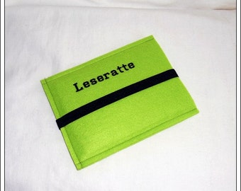 Case E-book reader / embroidered green, black, rubber, embroidered, 19/14, 5 cm