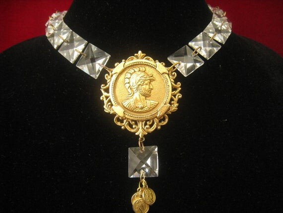 Crystal Chandelier Prism Necklace Assembled with 3 Level Gold Coin & Prism Pendant