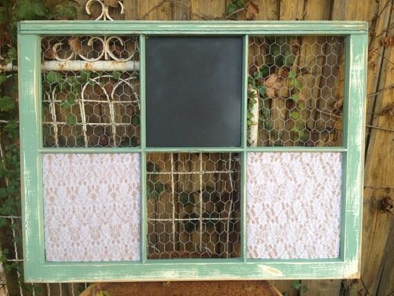 RECLAIMED Old Window - Custom - Chalkboard - MAGNETIC - Cork board - BURLAP - fabric - Chicken Wire - Knobs - Wedding - Office - Calendar