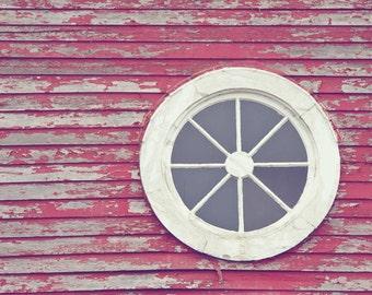 Architectural Details Photograph - Beach Cottage Decor - Weathered - Minimalist Photo - Rustic - Fine Art Photograph - Red White Home Decor