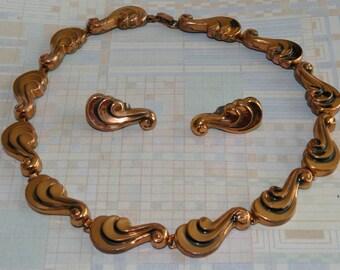 """Vintage Copper Renoir Demi Parure - """"Butterfly Wings"""" - Choker and Earrings - 1950's"""