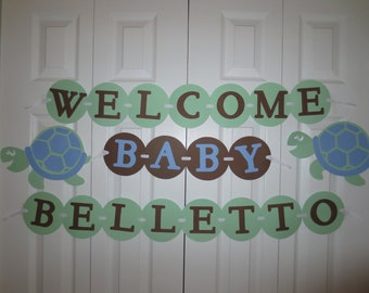 Baby shower banner turtle theme personalized with name