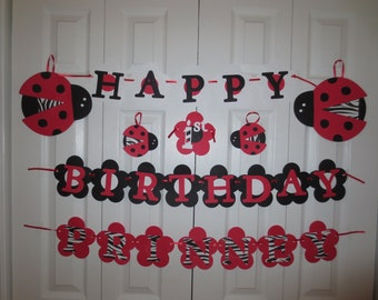 Lady Bug banner with zebra print personalized with name
