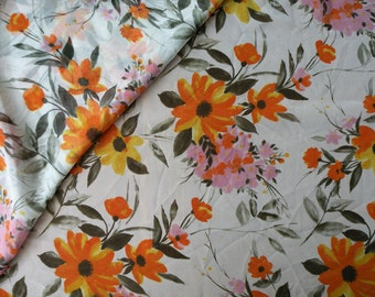 "3 Yards 55"" Wide Vintage Silky Sheer Fabric // Orange Floral On White // Unused Yardage"