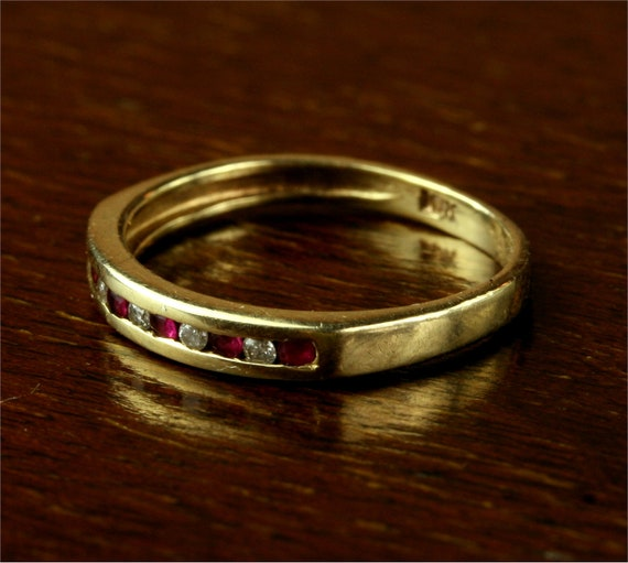 Vintage Channel Set Ruby and Diamond Ring / 10k Yellow Gold