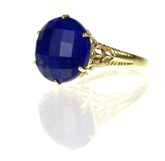 Vintage 10k Gold Lapis Lazuli Ring / Filigree / size 6.25