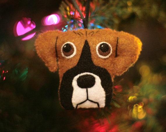cute felt boxer dog ornament