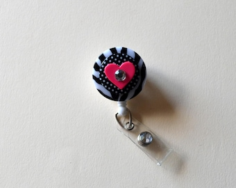 Pink Heart and Zebra Button badge Cover