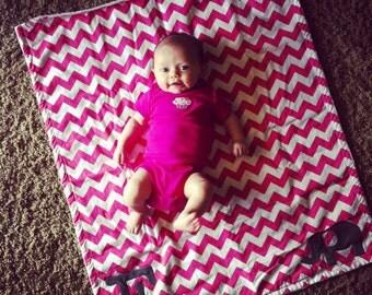 Chevron Elephant Blanket With Monogram, Pink Chevron Elephant Blanket, Monogrammed Chevron Blanket