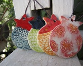 Four Colorful Lace Pomegranates