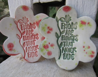 Two Friendship Flower Ceramic Dishes Gift for Friend Jewelry Ring Holder Tea Lights