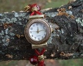Gold Watch mixed Red and Gold beaded watch band