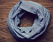 Navy Blue and White Striped Infinity Scarf (Adult)