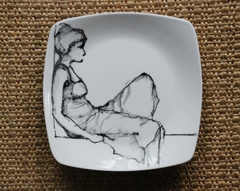 Hand painted Female black and white geometric porcelain plate. Modern art painting/ Figurative/ Rest/ Female/ Woman