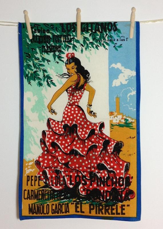 Tea Towel Retro Spanish Flamenco Los Gitanos Unused 1960/70s Dish Towel. Vintage