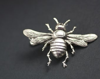 Matte Silver Oxidized Large Bee Victorian steampunk silver tie clip