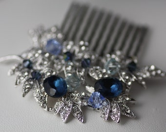 Ocean Branch Swarovski clear navy blue and aquamarine crystal elegant bridal hair comb