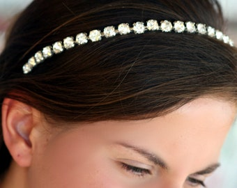 Lidia Simple   Swarovski crystal  bridal  headband