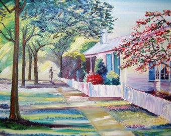 Cape Cod Home, Home Oil Paintings, Country Lane Home Oils, Ocean Cottage Oil, Dan Leasure Oils