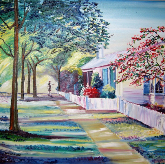 Cape Cod Home Home Oil Paintings Country Lane Home By