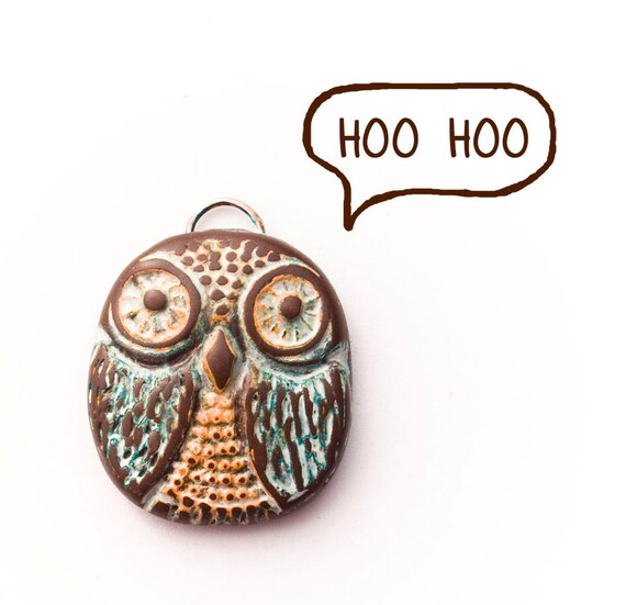 Distressed Vintage Owl Polymer Clay Pendant