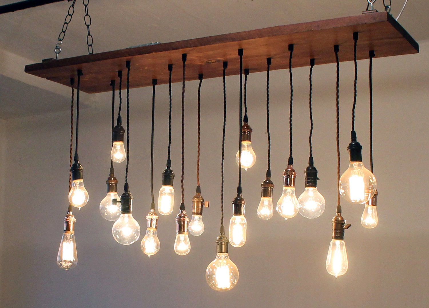 Reclaimed barn wood chandelier with varying edison by urbanchandy - Hanging bulb chandelier ...