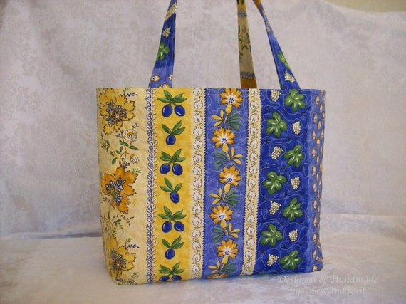 French Fabric Quilted Purse, Market Bag, Shopping Tote, Craft Bags, Shoulder Totes in Blue, Yellow and Gold Provencal Cotton Fabric