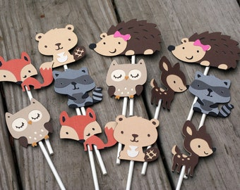 24 Woodland Animal Cupcake Toppers, forest animal, forest friends