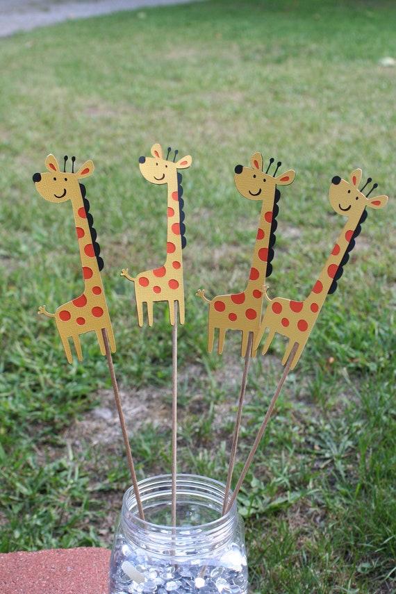Set of 3 giraffe table decorations jungle birthday giraffe - Deco table jungle ...