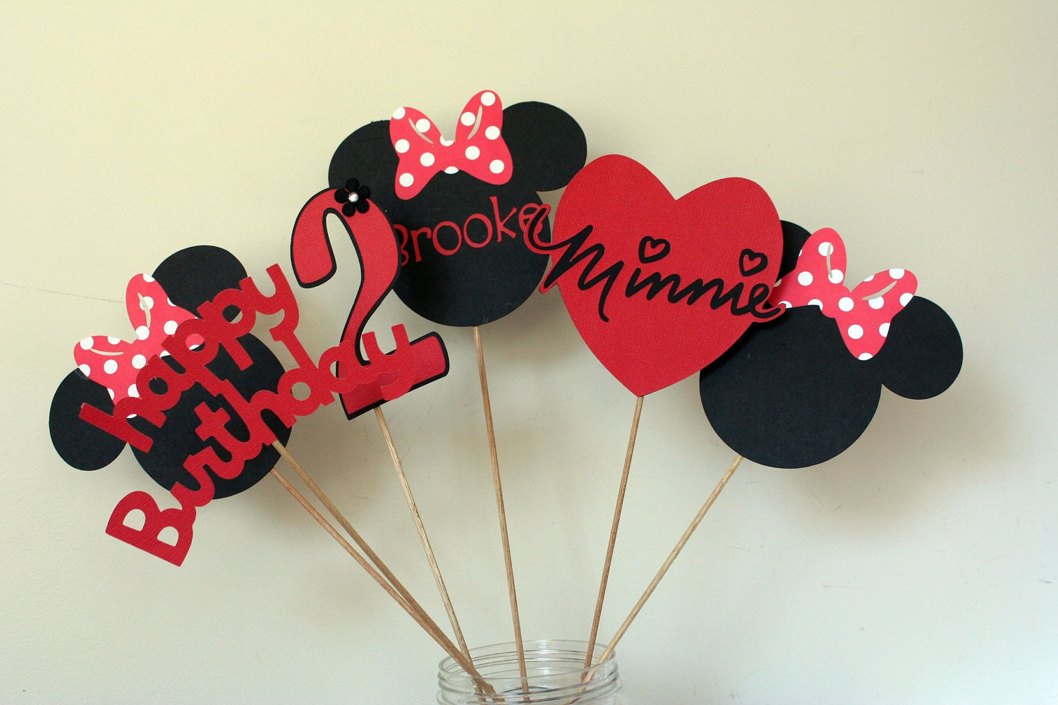 Piece minnie mouse centerpiece red white and black