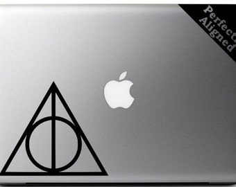 """Vinyl Decal -  4"""" Harry Potter inspired Deathly Hallows decal for Macbooks, Laptops, Cars, etc..."""