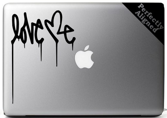 Vinyl Decal - Banksy style 'Love Me' quote for Macbooks, Laptops, Cars, etc...