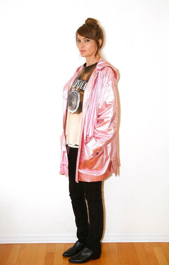 Vintage Metallic  Pink Foil Lamé Anorak Jacket Hooded Raincoat Lightweight  XXL Vintage 80s