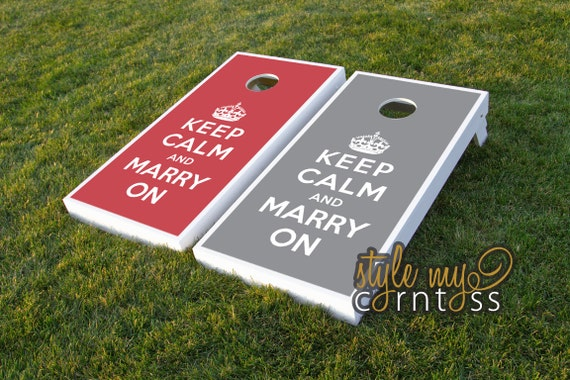 Wedding Cornhole Set - Keep Calm and Marry On