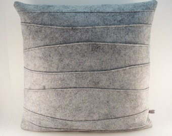 Gray Pillow, Wool Felt Pillow, Decorative Pillow, Felt Pillow with Ribbing, Modern Pillow, 16 x 16, 18 x 18, 20 x 20