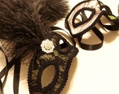RESERVED FOR CALIS: Custom Wedding Masquerade Masks for Bride and Groom -- Light Green, Black and Grey with Fushia