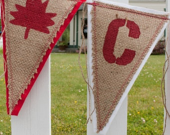 Upcycled CANADA Burlap Banner, Red and White, backed with felt - Eco-Friendly Canada Day Home Decor