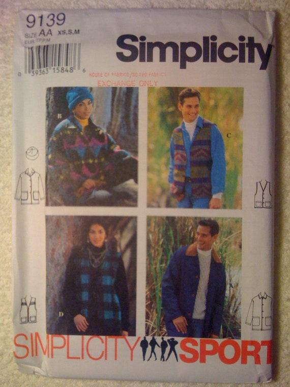 Simplicity 90s Sewing Pattern 9139 Misses, Mens and Teens Jacket, Vest and Hat UNCUT Size XS, S, M