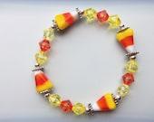 Candy Corn Lampwork Bracelet