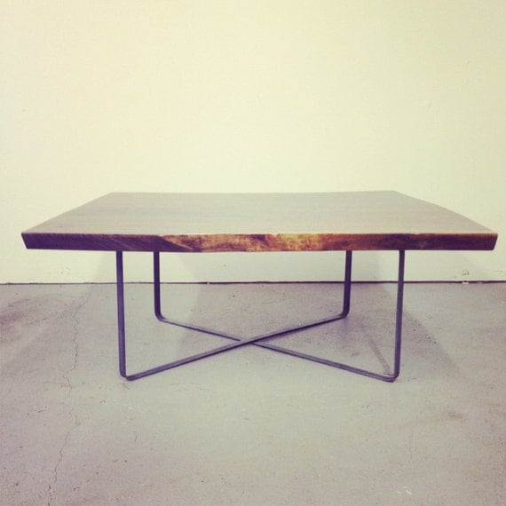 Square Coffee Table - Live Egde Walnut Slab w/Steel X Base by Dylan Design Co.